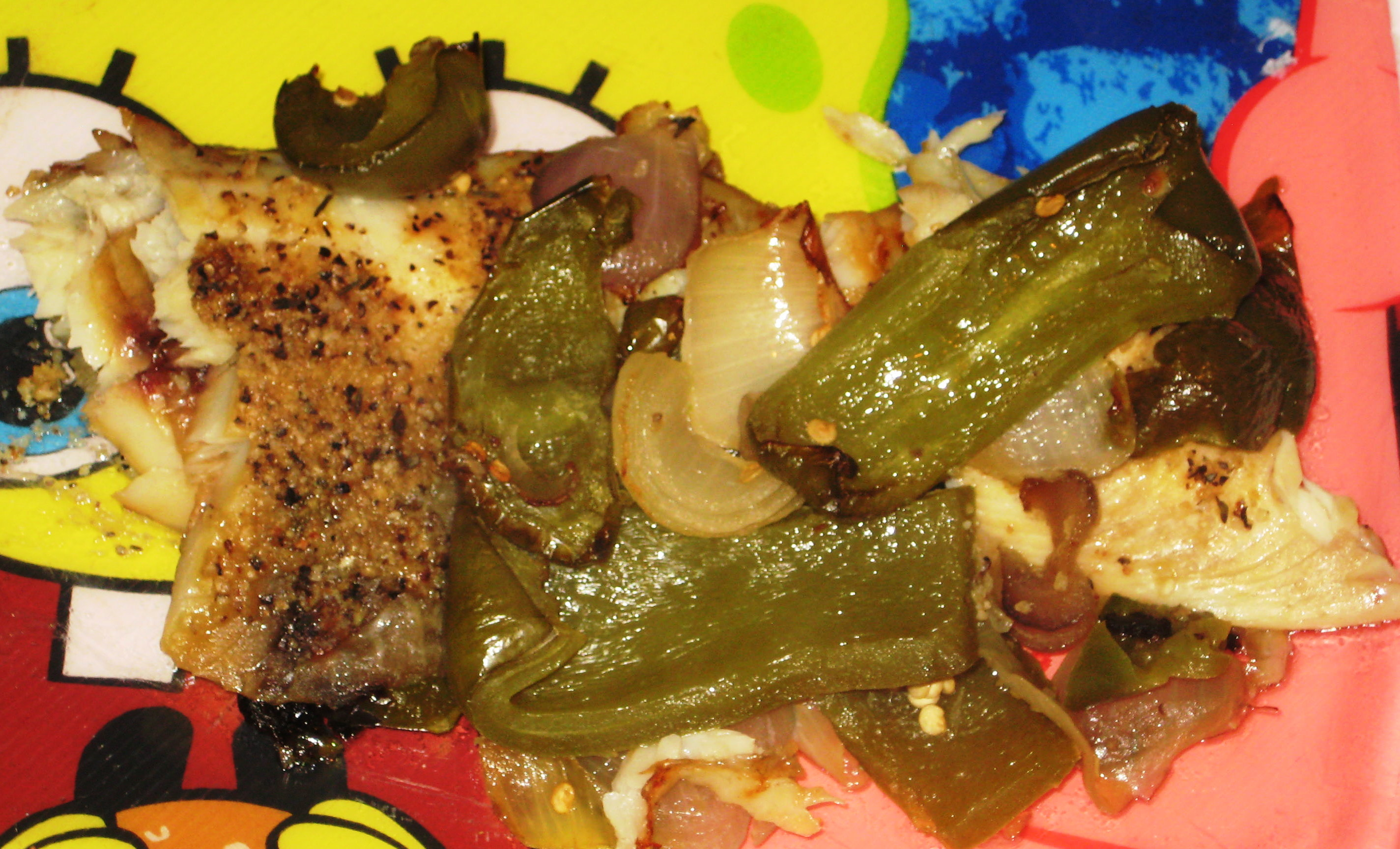 Baked Tilapia Topped With Green Peppers Onions & Wasabi