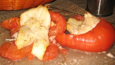 Roasted Tomatoes Stuffed With Cod & Garlic
