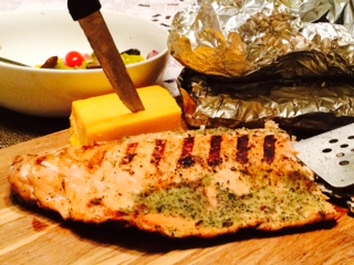 Grilled Salmon Steak, Deliciously Seasoned