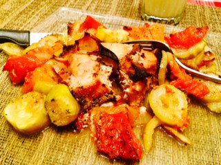 Baked Tuna Steaks Over Zucchini, Onion & Tomato :P