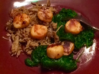 Sauteed Scallops Paired With Brown Rice Noodles & Spinach